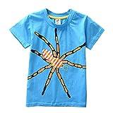 JUTOO Kleinkind Kinder Baby Jungen mädchen Kleidung Kurzarm fußball Cartoon Druck Tops t-Shirt Bluse (Blau,120)