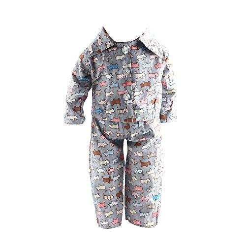 perfeclan 2-teilige Pyjamas Schlafanzug Nachtwäsche Nachthemd Für 18 Zoll Puppe Dress Up - Hunden Tier