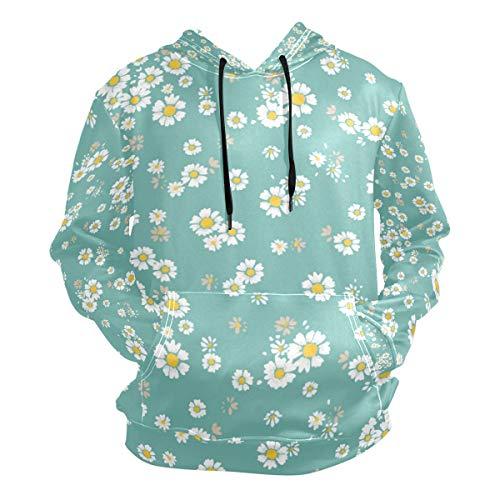 XiangHeFu Herren Hoodies Sweatshirt Flower Small Daisy Langarm-Pullover -