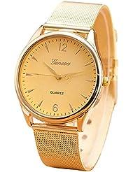 Reloj - GENEVA reloj de pulsera de moda de manera aleacion de acero inoxidable redondo analogo del cuarzo con cinta de malla para mujeres oro