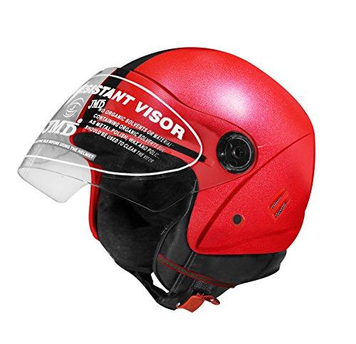 JMD Helmets Polycarbonate Grand Open Face Helmet, Medium (Red)