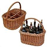 GalaDis Flaschenkorb geflochten aus Weide für 6 Flaschen Wein/Zubehör