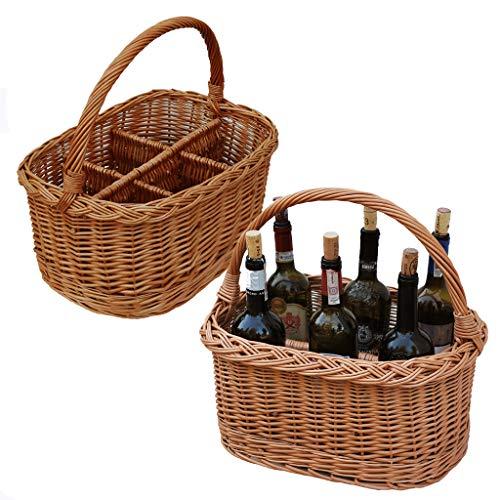 flaschenkorb weide GalaDis Flaschenkorb geflochten aus Weide für 6 Flaschen Wein/Zubehör