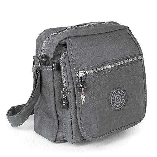 Umhängetasche grau Nylon Crossover Schultertasche Bag Street OTJ218K (Crossover Grau)