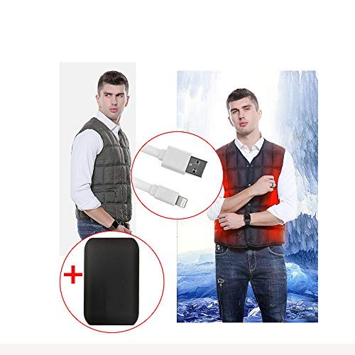 519uSJ65FgL. SS500  - LH Heated Vest, safety intelligent constant temperature heating suit, 3 modes USB interface Security material (INCLUDE A POWER BANK),L