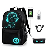 GAOAG Anime Luminous Backpack Daypack Shoulder Under 15.6-inch with USB Charging Port and Lock School Bag Black