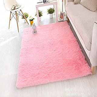AFUT Square Fluffy Rugs Anti-Skid Shaggy Carpet Floor Mats Ideal for Dining Room Home Bedroom Living Room,80X120CM,PINK