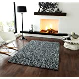 Bobbles High Quality Luxurious Grey Pebble Effect Shaggy Wool Rugs - 2 Sizes Available