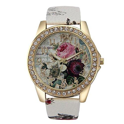 Uhren DELLIN Mode Damen Rosenmuster Lederband Analog Quarz Vogue Armbanduhren (Weiß)