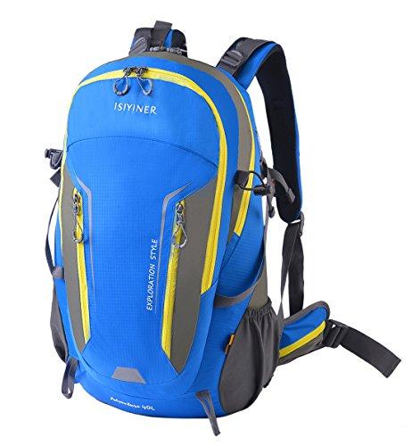 Trekkingrucksack ISIYINER, Wanderrucksack Reiserucksack Im Freien Wandern Klettern Freizeit Taschen Radfahren Reiten Reisetaschen mit Regenschutz Blau1 mit grau