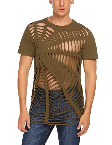 Coofandy Herren Shirts Party Outfit Netz Strings Spinne T-Shirt