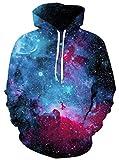 Ocean Plus Herren 3D Kapuzenpullover Hoodie Halloween Cosplay Sweatshirt Hooded Sweat Einzigartig Galaxie Pullover (S/M (Brustumfang: 112-132CM), Blau-violett Galaxie)