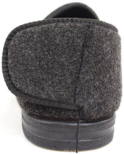 Herrenschuhe/Slipper für orthopädische Füße mit extraweitem Klettverschluss Grau