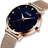 Damen Uhr Frauen Edelstahl Wasserdicht Luxus Armbanduhr Business Einfach Lässige Modish Roségold Analoge Uhren für Frauen Mäd