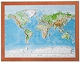 Relief Welt klein mit Rahmen (1:107.000.000): Relief Welt klein mit Holzrahmen (1:107.000.000)
