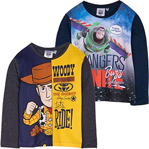 Disney Toy Story 4 Langarmshirt aus 100% Baumwolle mit Sheriff Woody, Buzz Lightyear Figuren Bild 2-8 Jahre Gr. 3-4 Jahre, Set of 2 T-Shirts