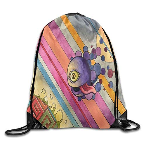 Free-shipping Colorful Little Monster Men & Women Drawstring Backpack Travel Bag