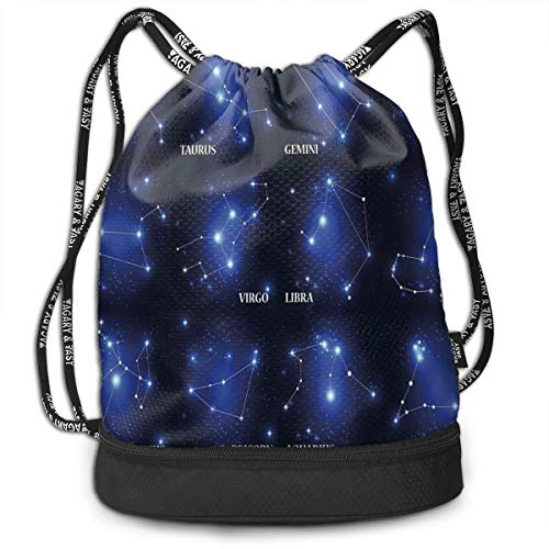 DDHHFJ Multifunctional Drawstring Backpack for Men & Women, Zodiac Sign Set Symbols and Names Group of Stars Cluster Esoteric,Travel Bag Sports Tote Sack with Wet & Dry Compartments -