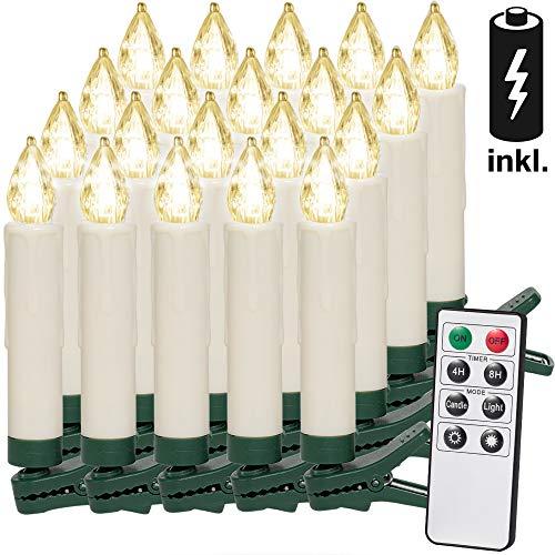 20 LED Weihnachtsbaumkerzen Kabellos Inkl. Batterien Warmweiß Fernbedienung Timerfunktion Flackern Dimmbar Kerzen