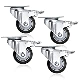 4 Pcs 3inch PVC Swivel Caster Wheels with 360 Degree Top Plate and 880lb Total Capacity (UK Stock) (Black)