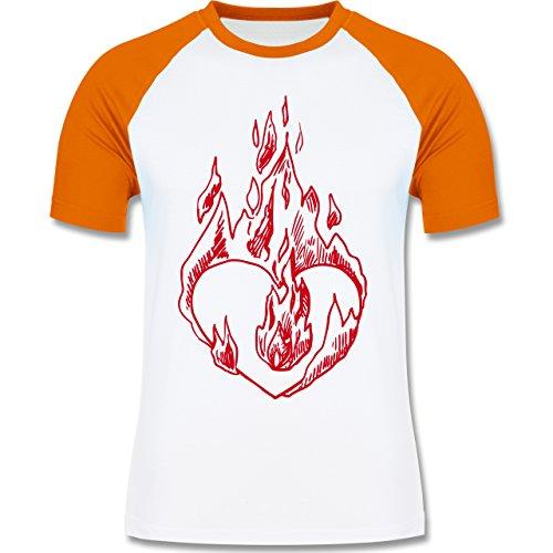 Valentinstag - Entflammtes Herz - zweifarbiges Baseballshirt für Männer Weiß/Orange