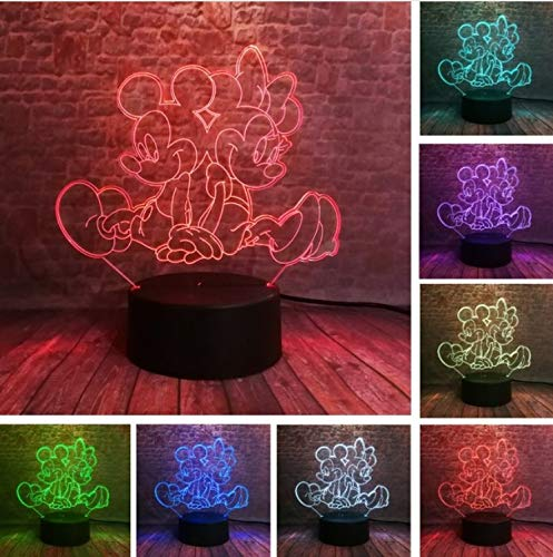 Klsoo Nachtlichter Minnie Mickey Mouse 3D Led Nachtlicht 7 Farben Usb Hologramm Licht Baby Sleeping Decor Freund Spielzeug Geschenke