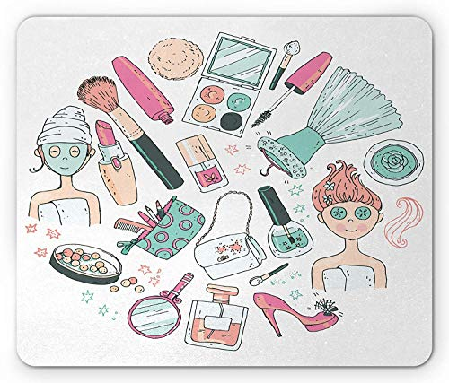 eup Mouse Pad, Beauty and Care Products Woman with Face Mask Cosmetic Blush Doodle, Standard Size Rectangle Non-Slip Rubber Mousepad, Pink Seafoam Pale Peach ()
