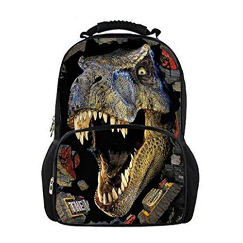 Childrens Gran dinosaurio 3d impresión Mochilas De Picnic Bolsa de libros Bolsas adolescente Niños Escuela