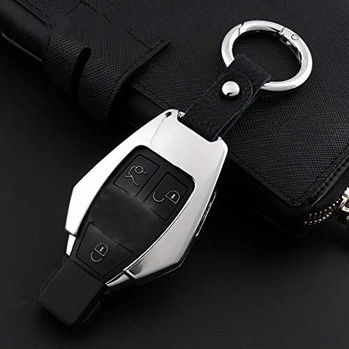 Autoschlüssel Hülle Schlüsselanhänger Schlüsselband - Seametal Schlüsseltasche Leder Beste Geschenke Autoschlüssel Abdeckung Schlüssel Aluminiumlegierung Leder Mode und Schöne (Bunt)