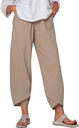 Women's Casual Trousers Plain Full Length Harem Loose Fit Trouser Pant