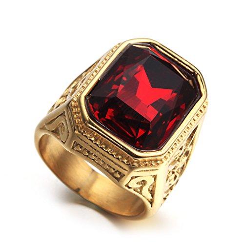 OAKKY Herren Edelstahl Vintage Europa und Amerika Style Square Edelstein Einfach Ring Rot Größe 57 (18.1)