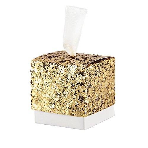 Kingsley 50pz principe principessa glitter luccichio bomboniere vintage carta kraft candy scatole regalo, scatole cubo portaconfetti segnaposto (a)
