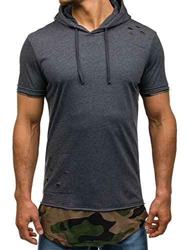 BOLF Herren T-Shirt Tee Kurzarm Slim Army Lang Classic Camo Kapuze 3C3 Motiv Anthrazit