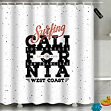 Randell Bathroom Shower Curtain California Surfing Stamp Label Waterproof Fabric Shower Curtain 60(W) X 72(L) Inches For Men Women Kids