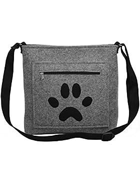 Hund Pfote Tatze - Handmade [ extra leichte ] Handtasche Umhängetasche aus Wollfilz