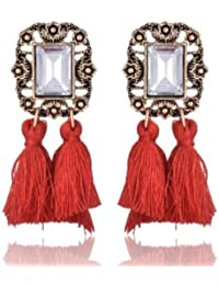 Avant Garde Red Crystal Tassel Statement Designer Dangle And Drop Earrings For Women And Girls(AG289)