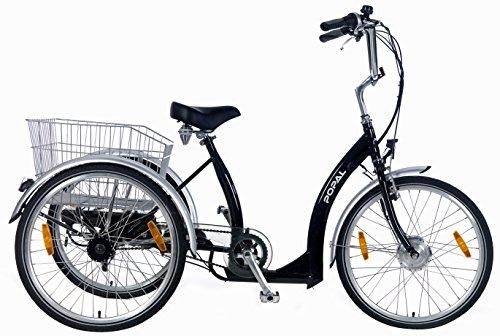 24 Zoll Popal 2405E Senioren Elektro Dreirad 7 Gang, Farbe:schwarz