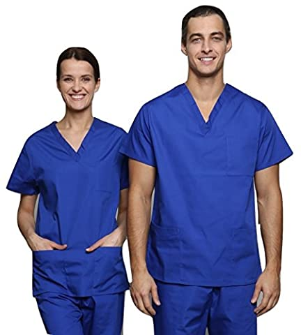 Lister Unisex Medical Hospital Surgical Operating Doctor Vets Scrub Tunic (XS, Royal Blue)