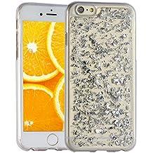 iPhone 6s Plus Cover,Asnlove Gold Foil TPU Funda Brillo de Bling Caso Carcasa Case Cover Premium Soft Flexible Bumper Skin Shell Carcasa Protectora Chic Caso Tapa Trasera Transparente per Apple iPhone 6 plus 5.5 pulgadas-Plateado