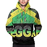 Huabuqi Felpa con Cappuccio Pullover Felpa con Cappuccio Manica Lunga Casual realistica Giamaica Reggae Flag L