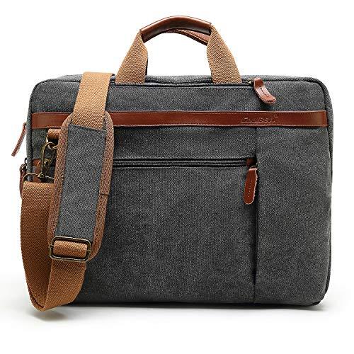 CoolBell umwandelbar Laptop Tasche Messenger Bag Herren Aktentasche Umhängetasche Multifunktionale Businesstasche Reisen Rucksack passend für 15-15,6 Zoll MacBook Notebook(Leinwand Grau)