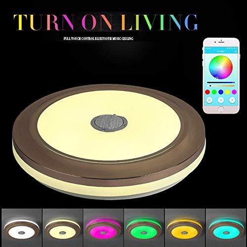 TUNBG LED Musik Deckenleuchte mit Bluetooth Lautsprecher RGB Rund Dimmbar und Farbwechsel Handy und Fernbedienung Deckenleuchte für Wohnzimmer Schlafzimmer 36W, APPandRemote,APPandRemote