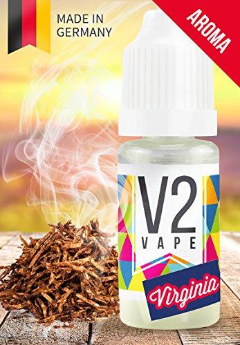 V2 Vape Virginia Tabak Konzentrat hochdosiertes Premium Lebensmittel-Aroma zum selber mischen von E-Liquid / Liquid-Base für E-Zigarette und E-Shisha 10ml 0mg nikotinfrei