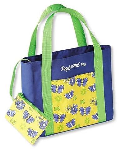 My First Church Butterflies Fabric Medium Blue Book & Bible Bag