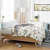 Cubierta moderna del edredón del estilo minimalista cubierta del edredón del algodón del plantas y flores cubierta de edredón-D 220x240cm(87x94inch)