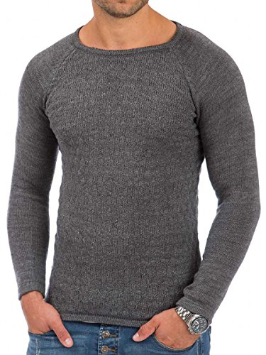 Pullover Herren Strickpullover Winter Pulli Tazzio Slim Fit Langarm Shirt Anthrazit