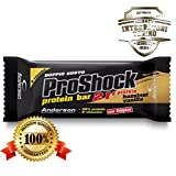24 Barrette proteiche Anderson Proshock da 60g con 21g di Proteine Whey + 8 Vitamine (vaniglia-nocciola) Confezione formato risparmio Pro Shock