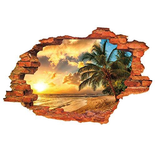 HL-PYL Landschaftsmalerei, Selbstklebende 3D - Stereo Sonnenuntergang Das Schlafzimmer Studie Wohnzimmer Wand Dekoration Hintergrund Wand Aufkleber Wand Aufkleber