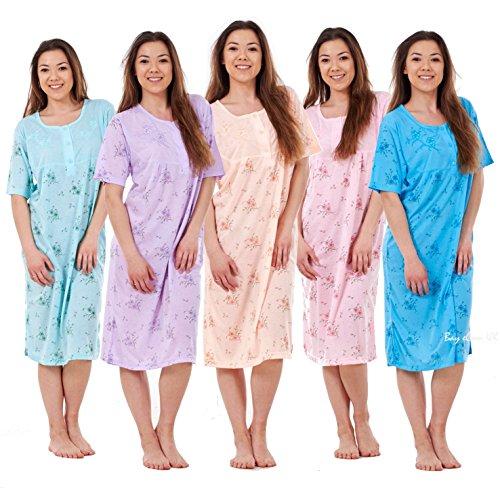 Bay eCom UK New Women Nightwear Cotton Floral Print Short Sleeve Ladies Nightshirt M To 2XL