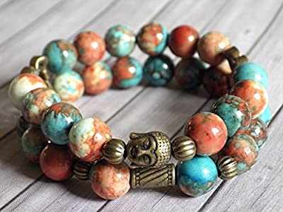 Bracelet pour femme Boho Gipsy multi-rangs en jade blanc teinté en orange, marron et bleu